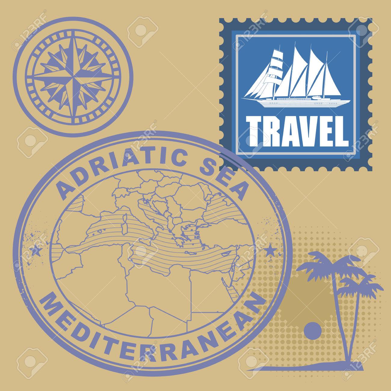Grunge Rubber Stamp Set With Text Mediterranean, Adriatic Sea.