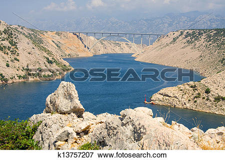 Picture of Maslenica Strait of the Adriatic Sea, north of Zadar.