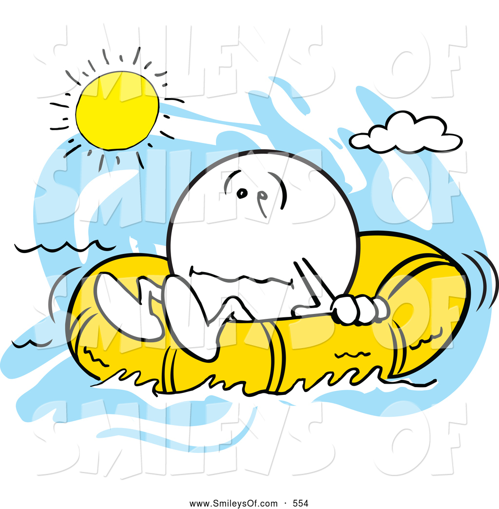 Vector Smiley Clipart of AWorried Emoticon Character in a Raft.