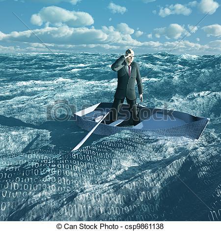 Stock Illustration of Man Adrift in tiny baot in binary ocean.