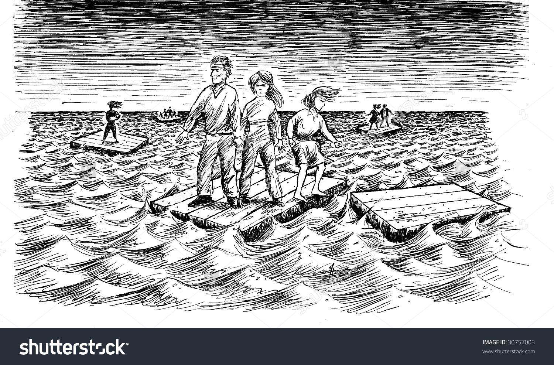 Lonely Family Adrift Stock Illustration 30757003.