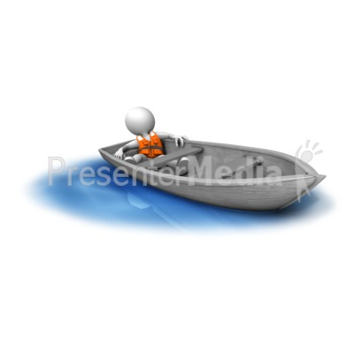 Figure Adrift In Small Boat.