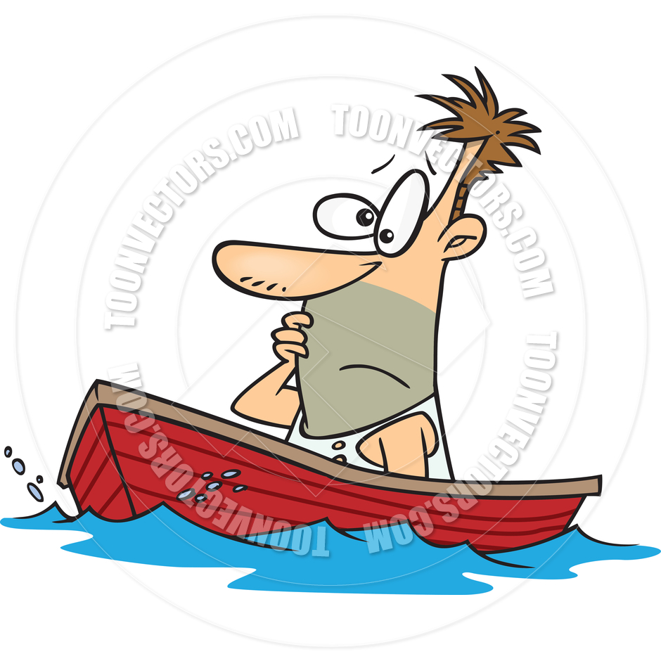 Cartoon Man Adrift by Ron Leishman.