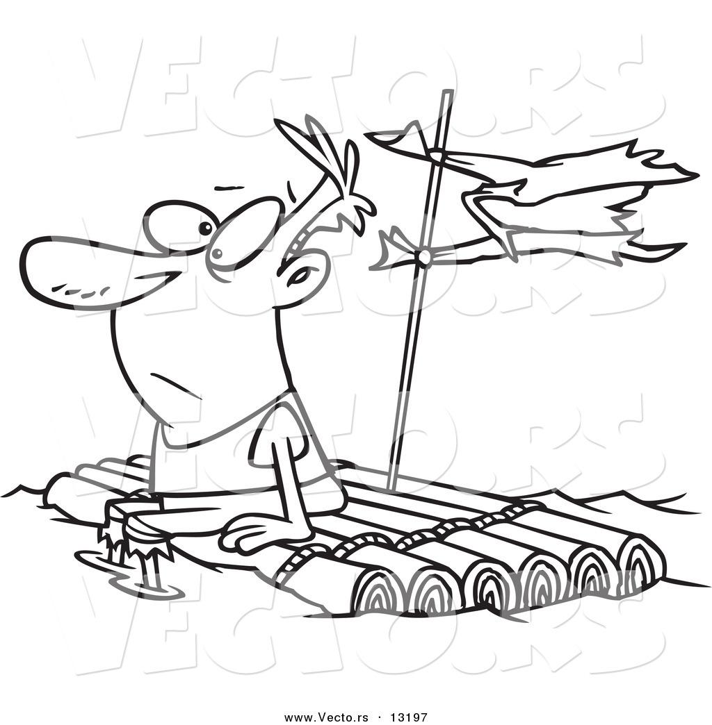 Vector of a Cartoon Man Adrift on a Log Raft.
