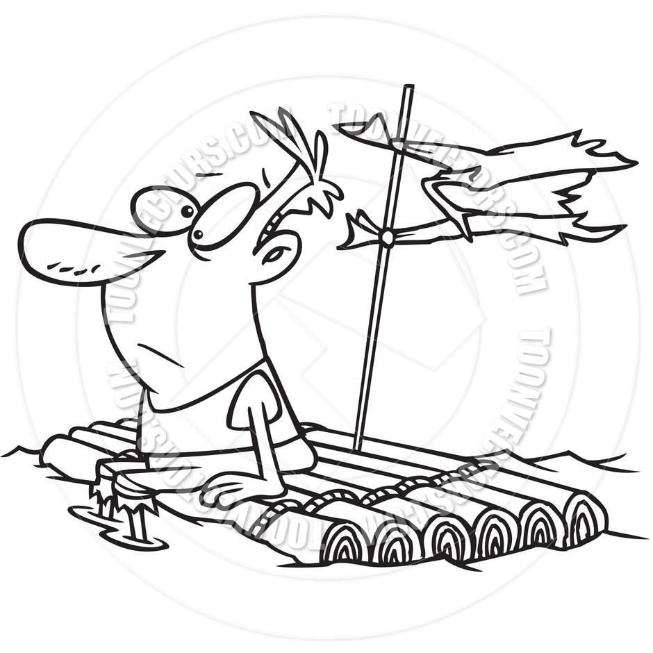 Cartoon Man Adrift (Black and White Line Art) by Ron Leishman.