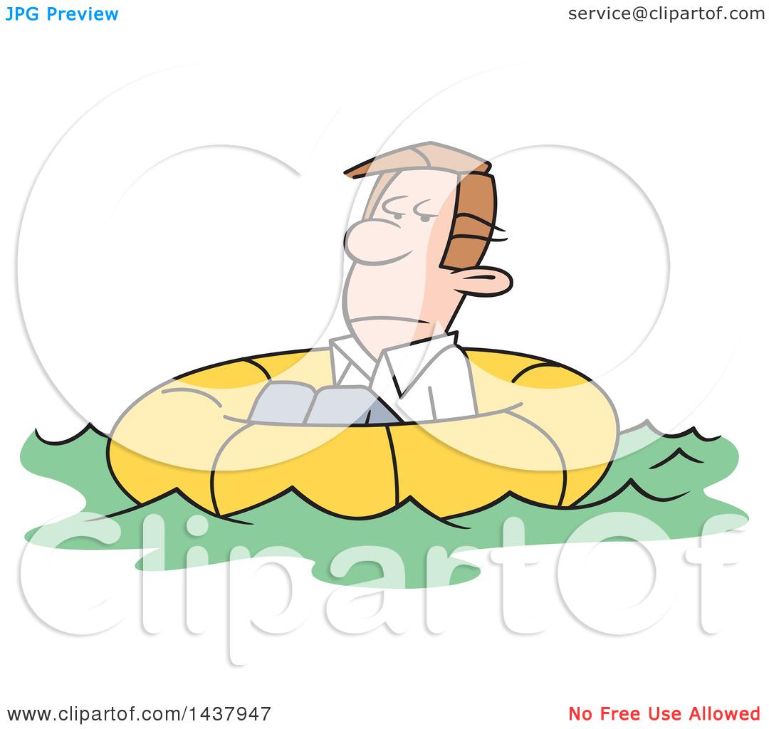 Clipart of a Cartoon Caucasian Man Adrift in a Life Buoy.