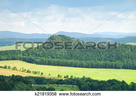 Pictures of Forest hill with sandstone towers in Adrspach, Czech.