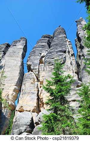Picture of High sandstone rock city towers in Adrspach, Czech.