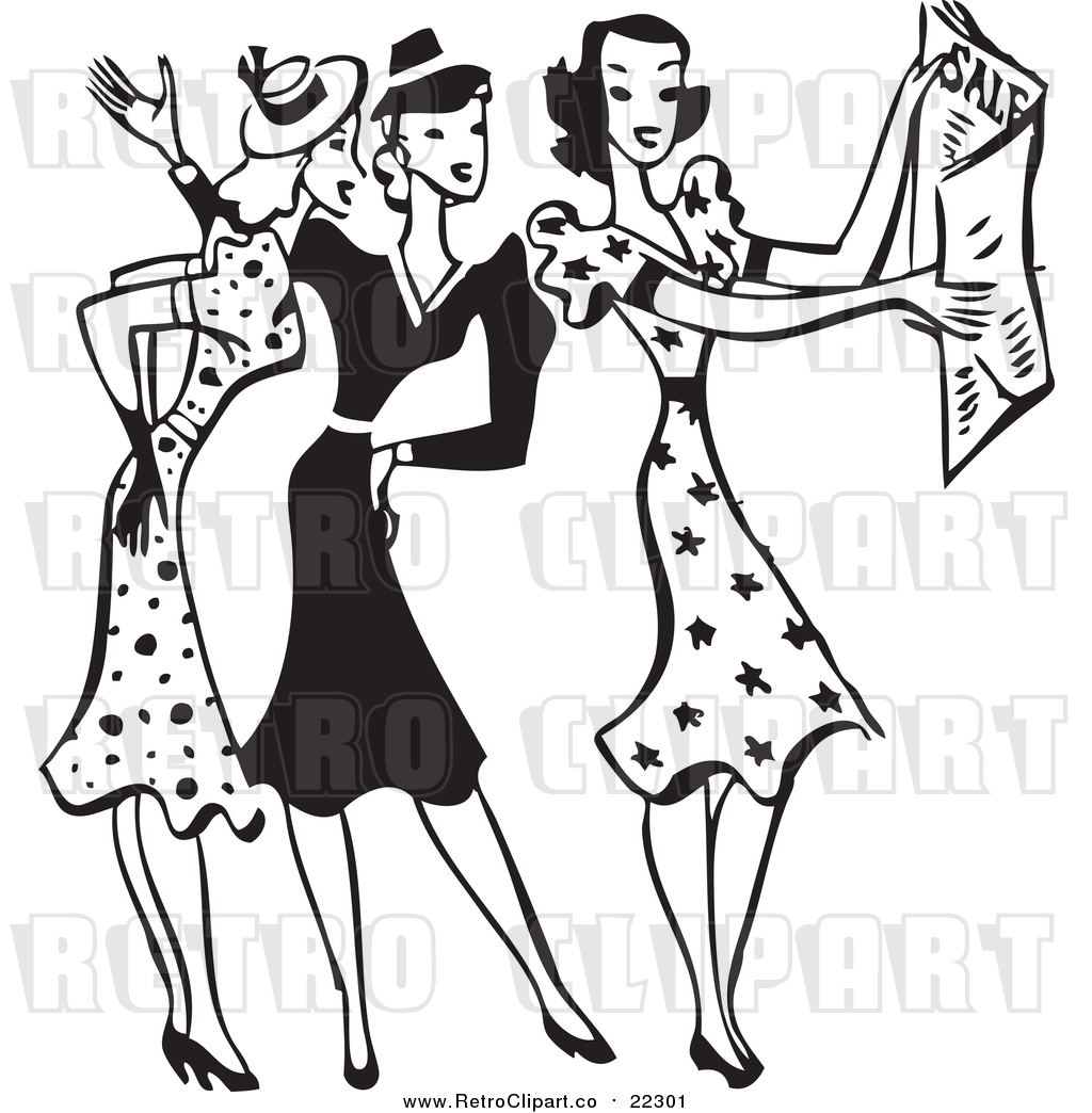 Vector Clip Art of a Retro Black and White Group of Women.