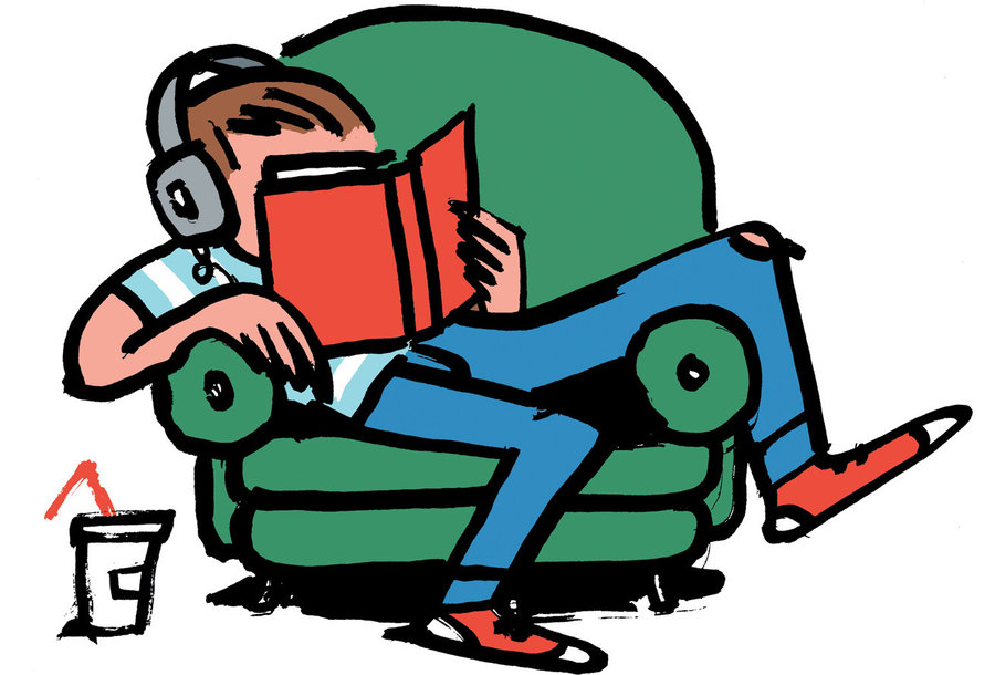 Teenager Reading Clipart.