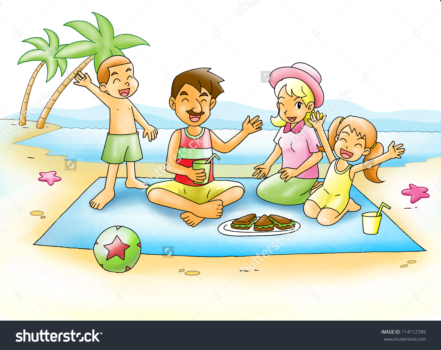 Picnic On The Beach Clipart.