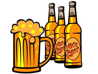 Clip art. Tres botellas de cerveza y una jarra con espumosa.