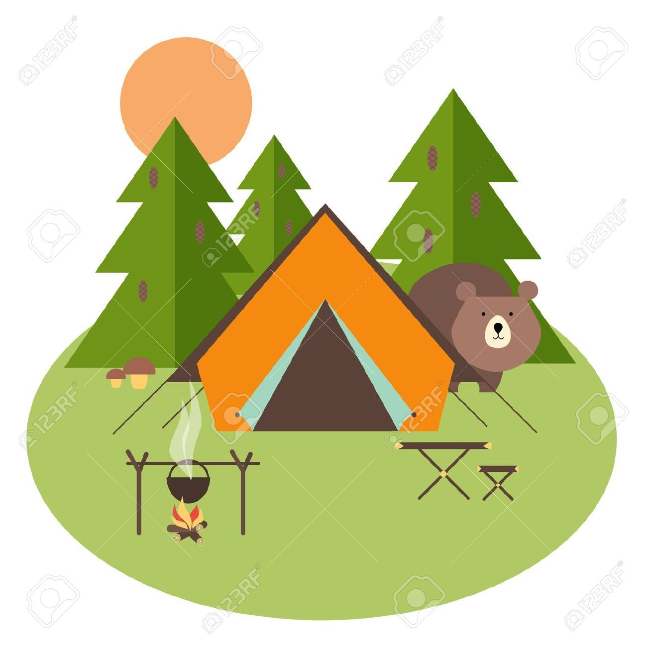 Camping Clipart Vector.