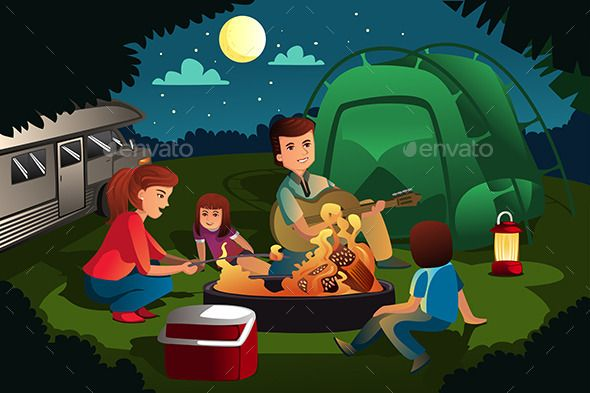 Family Camping in the Forest (Vector EPS, CS, adult.