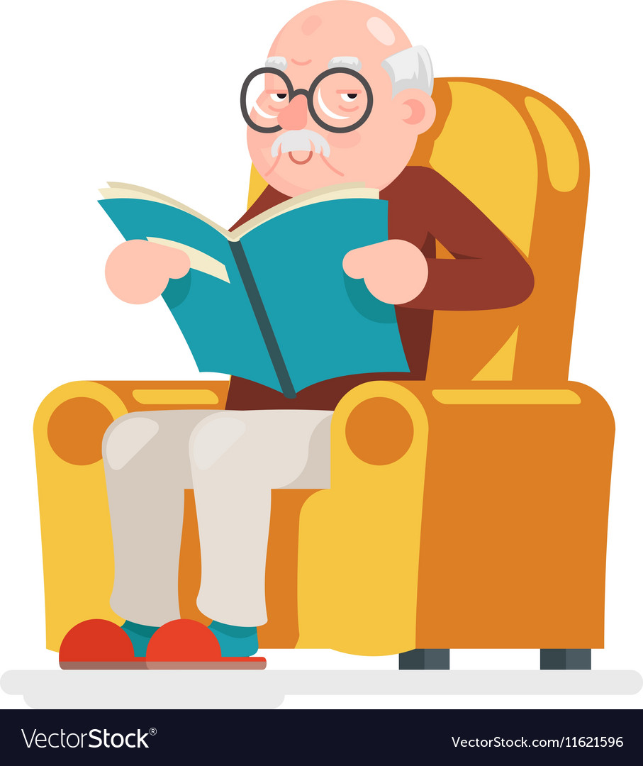 Reading Old Man Character Sit Adult Icon Cartoon.