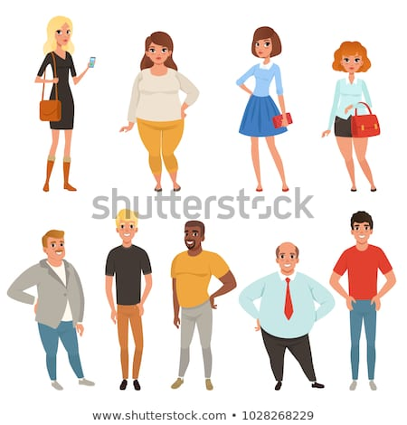 Cartoon Collection Young Adult People Different Stock Vector.