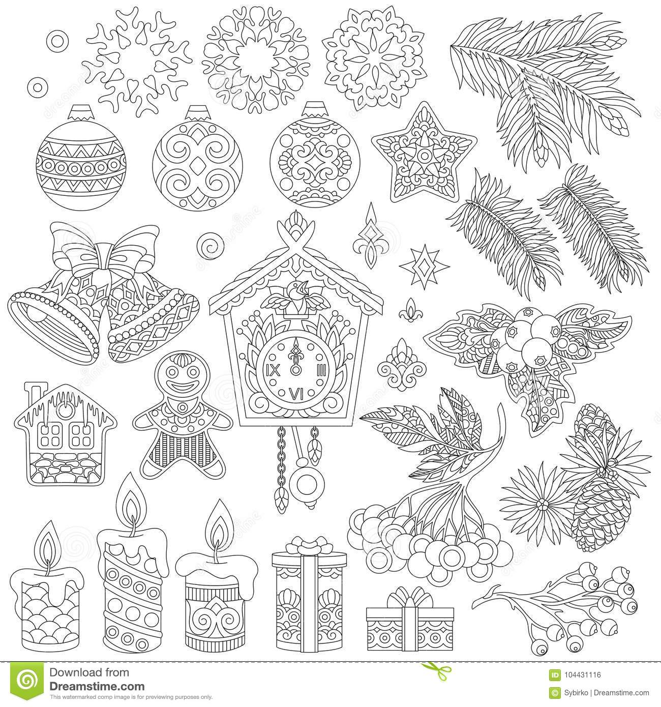 Collection Of Christmas Decor Ornaments Stock Vector.