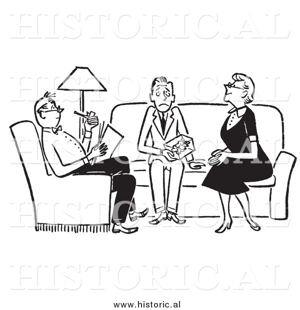 Clipart of Adults Sitting with Nervous Teenager in the.