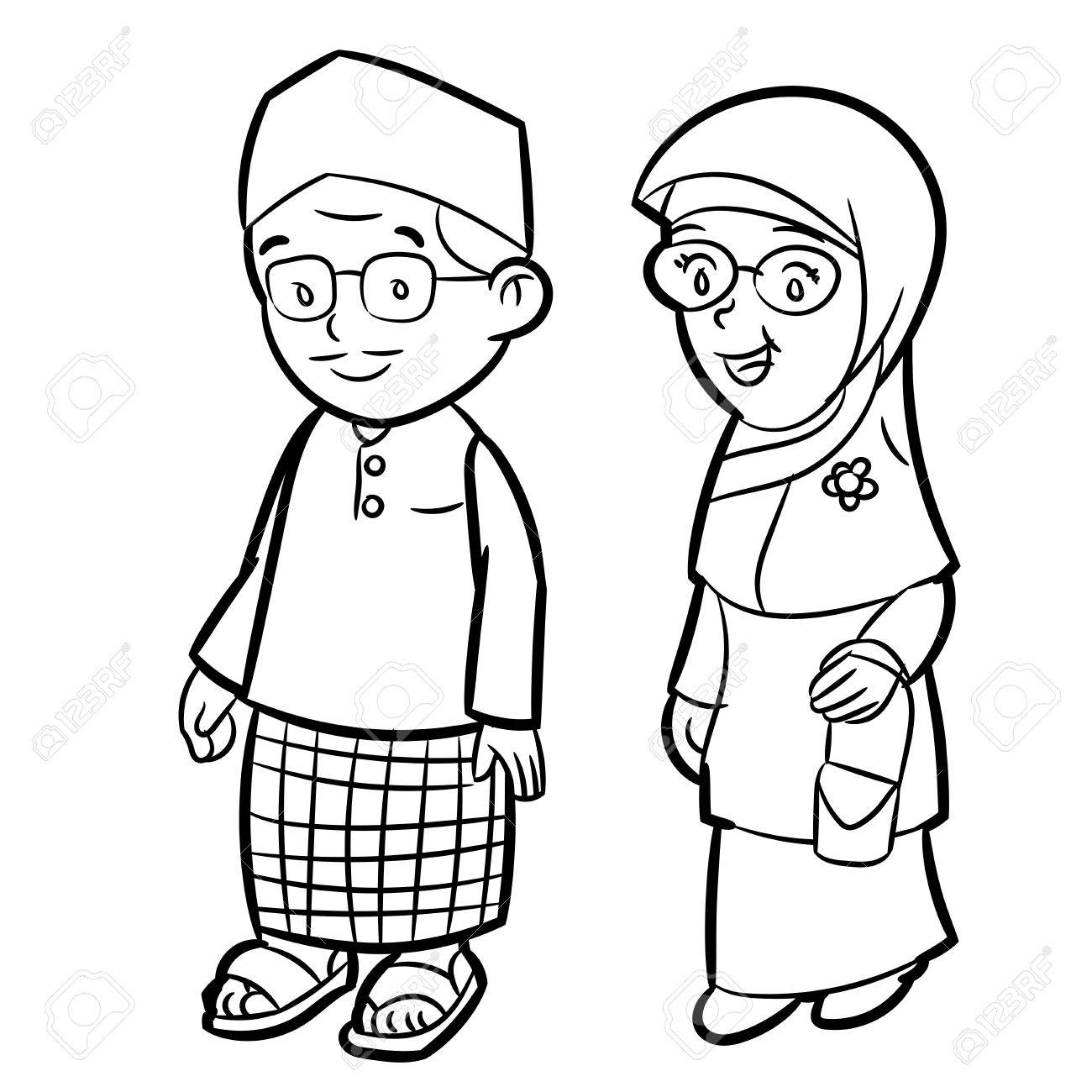 Hand drawn sketch of Adult Malay Character Cartoon isolated,...