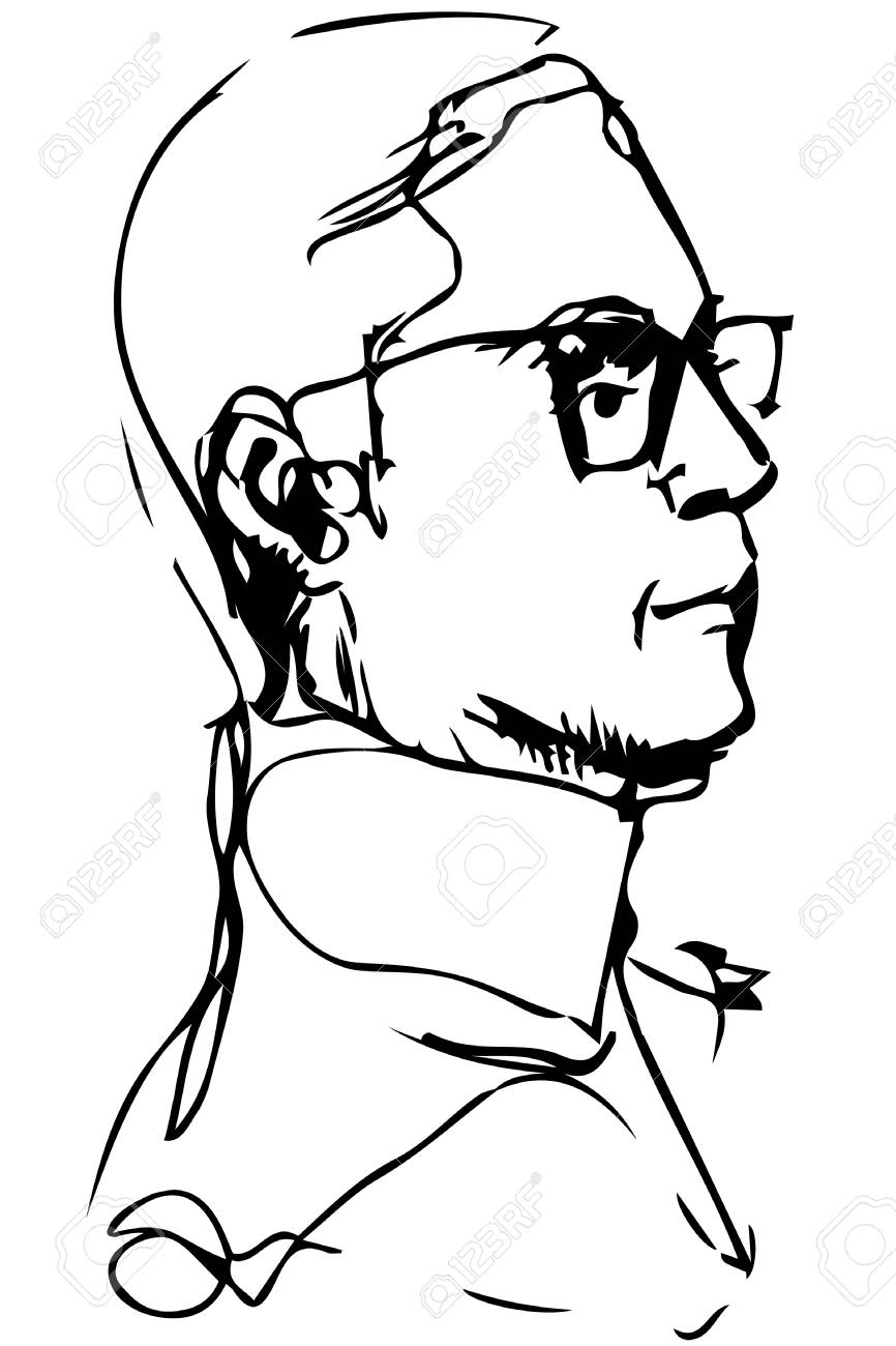 Black and white vector clipart adult man with glasses in profile.