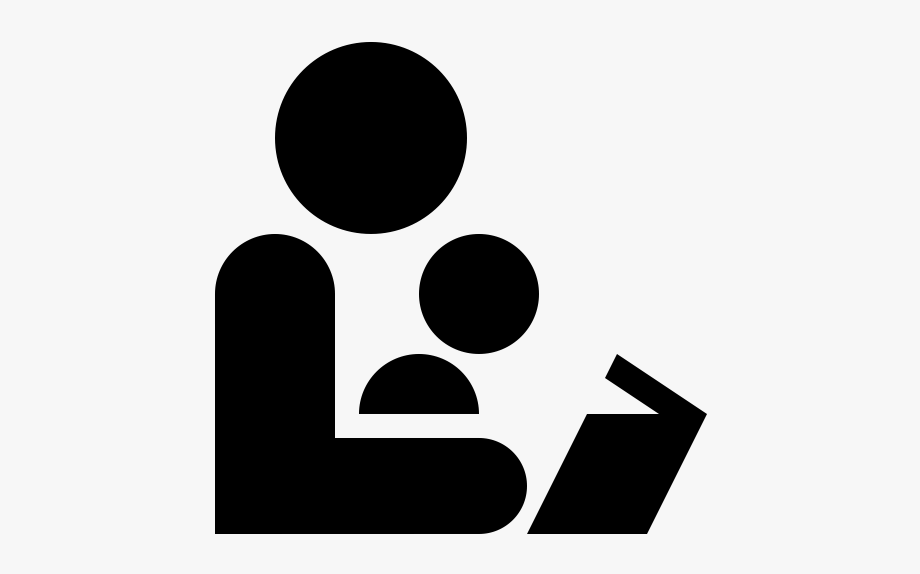 Black And White Icon Of An Adult Reading To A Child.