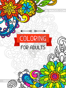 Adult coloring book design for cover. trend item.