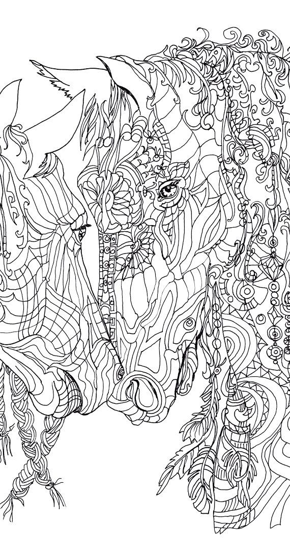 Horse Digital stamp Coloring Pages Printable Adult Coloring.