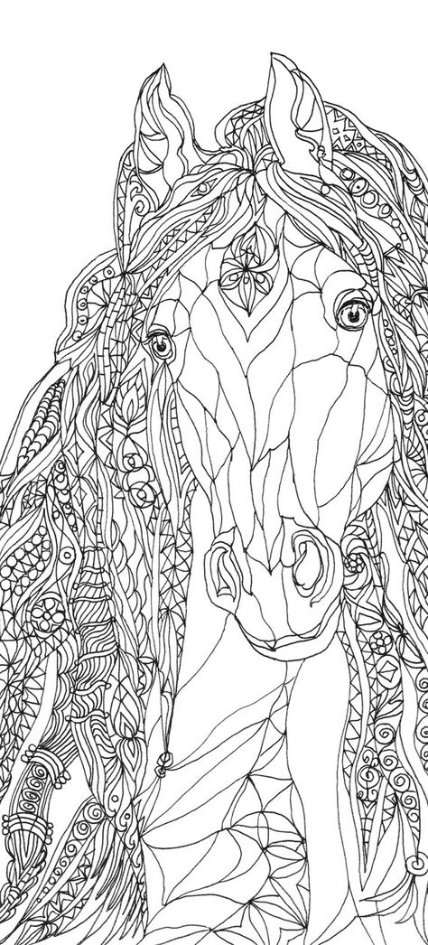 Coloring pages Horse Printable Adult Coloring book Clip Art.