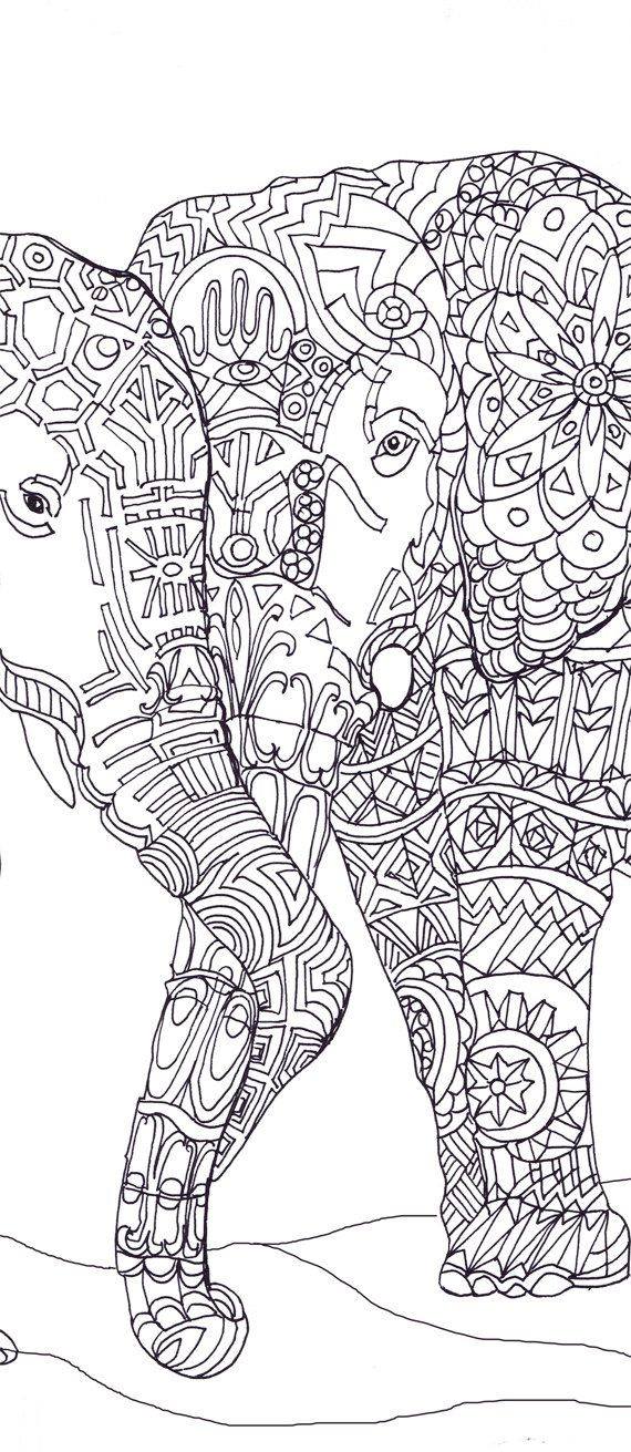 Elephant Clip Art Coloring pages Printable Adult Coloring.