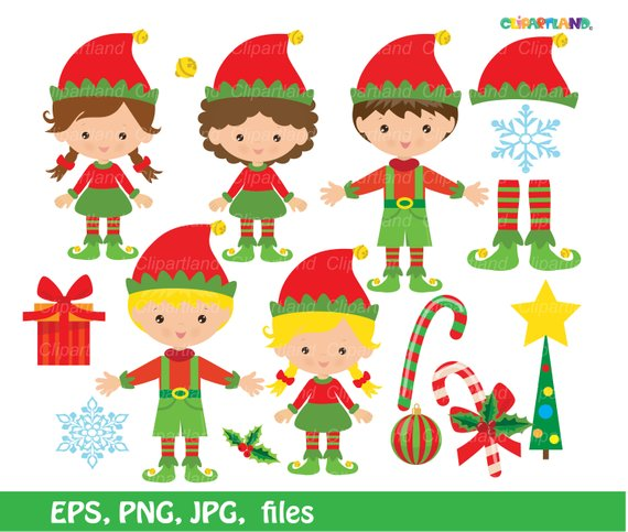 INSTANT Download. Christmas elves clip art. CCh_21. Personal.