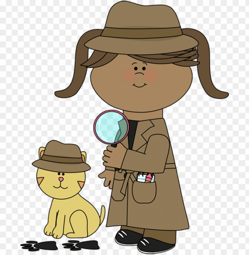 clip art free girl following clues with her pet cat.