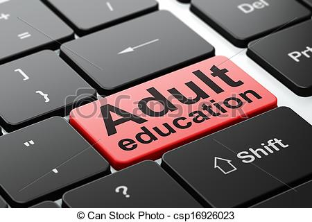 Clip Art of Education concept: Adult Education on computer.