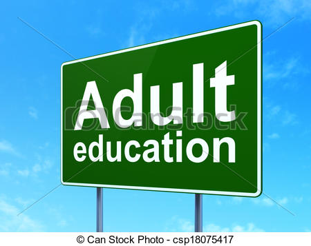Clipart of Education concept: Adult Education on road sign.