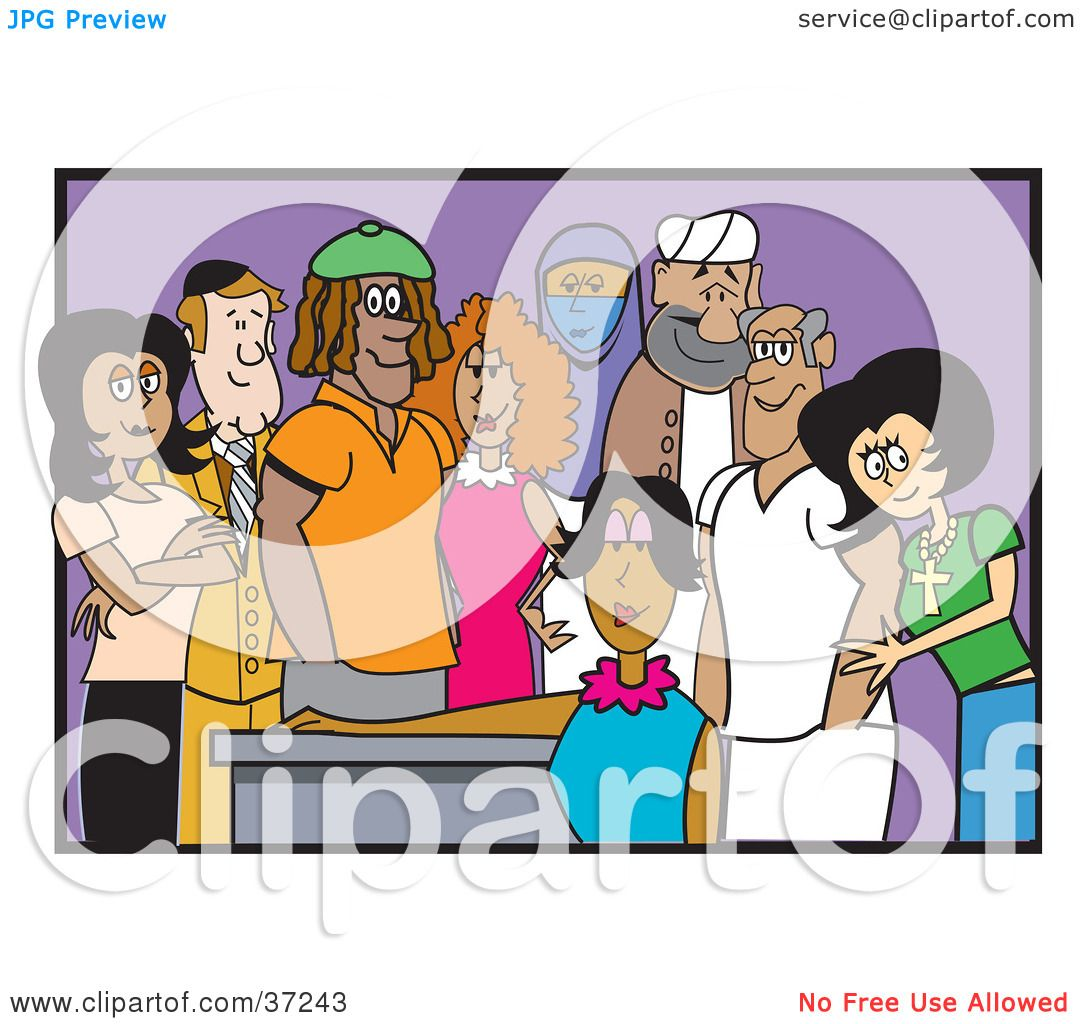 Clipart Illustration of a Diverse And Cultural Group Of Adult.