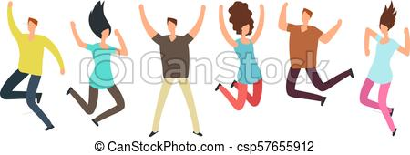 Happy jumping adult friends. Group of people in jump. Healthy active people  and friendship vector concept.