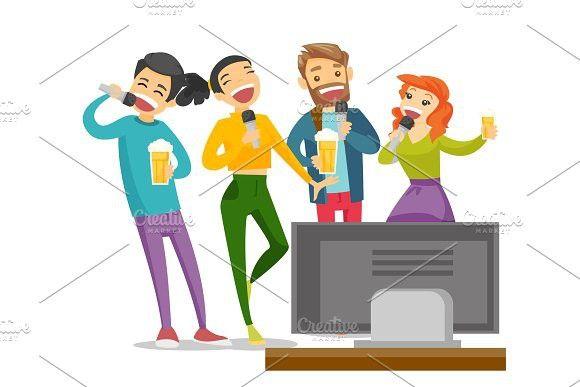 Young caucasian white friends singing karaoke. #karaoke.