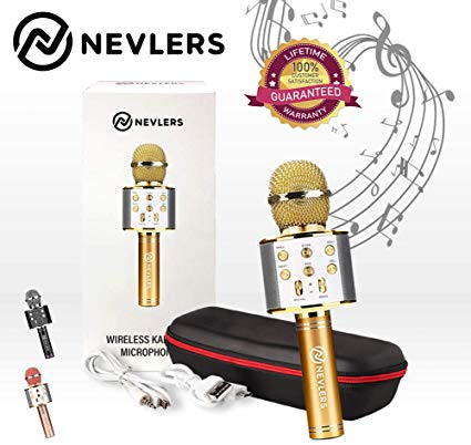 Nevlers Karaoke Microphone with Wireless Bluetooth Speaker and Recording  Options, Easy To Use Portable Handheld Karaoke Machine for Kids and Adults.