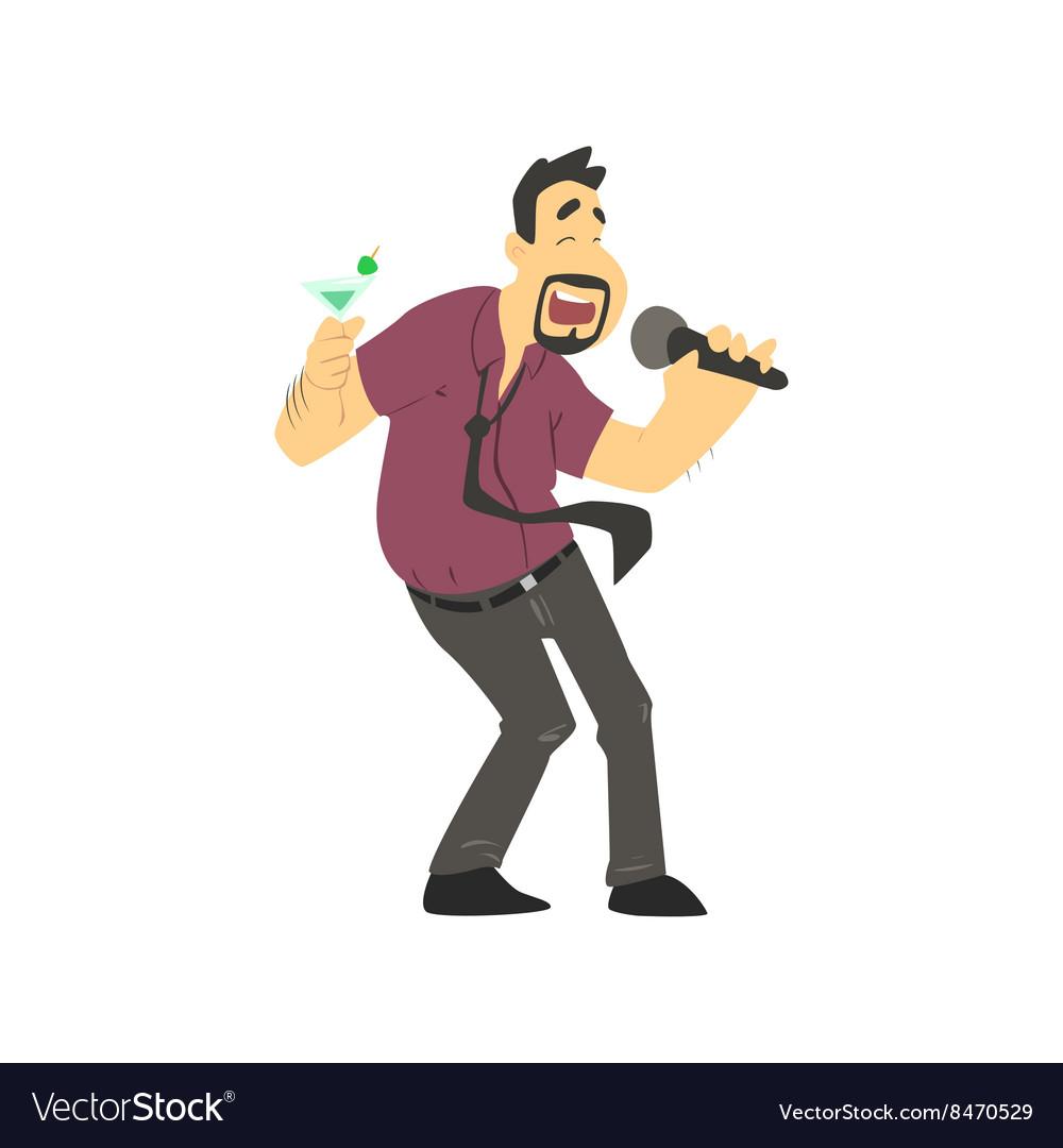 Drunk Man Singing In Karaoke.