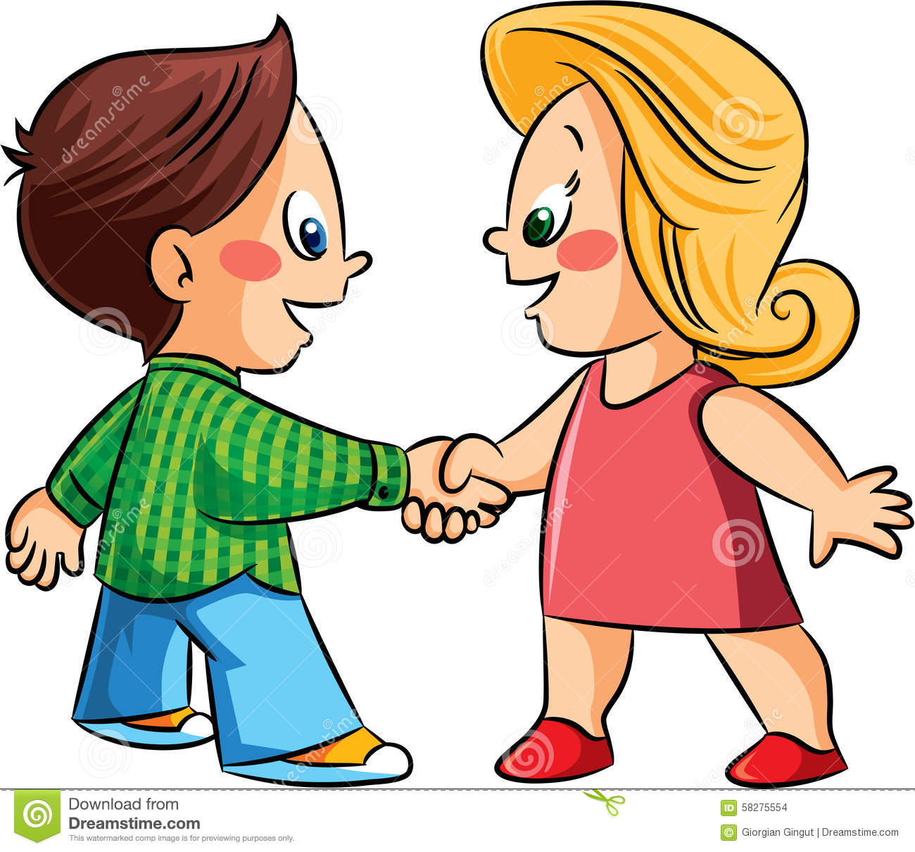 Friends Shaking Hands Clipart.