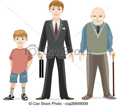 Vector Clipart of Man age progress. Old and adult, male young, age.