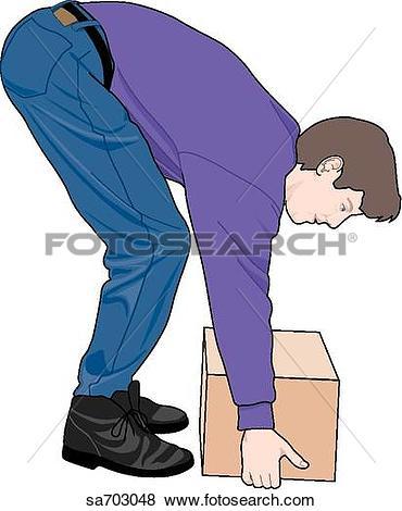 Stock Illustration of Adult male demonstrating improper lifting.