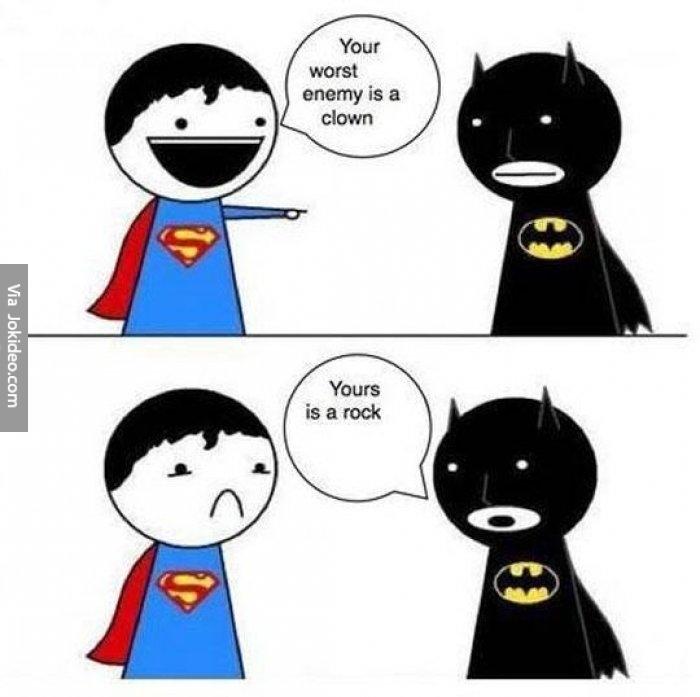 Superman and batman arguing.