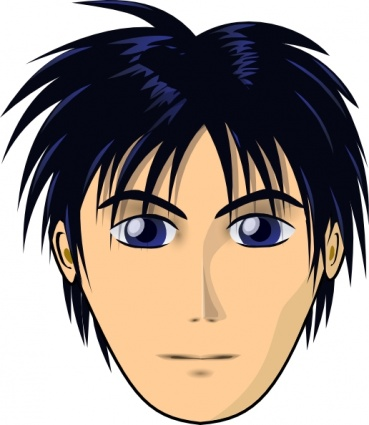 Man Face Anime Clipart Graphic.