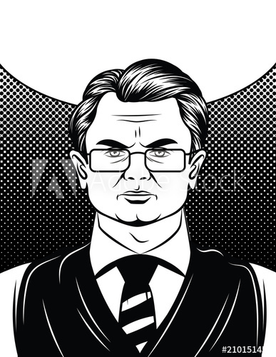 Vector comic style illustration of a serious face of adult.