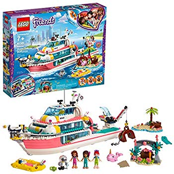 LEGO Friends Rescue Mission Boat 41381 Boat Building Kit with Mini Dolls  and Toy Sea Creatures includes Narwhal Figure, Treasure Chest and more for.