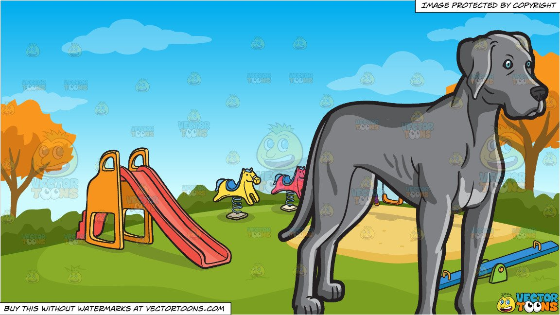 A Tall Adult Weimaraner Dog and Kids Playground On An Autumn Day Background.