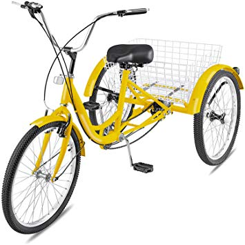 Happybuy Adult Tricycle Single 7 Speed Three Wheel Bike Cruise Bike 24 Inch  Seat Adjustable Trike with Bell Brake System and Basket Cruiser Bicycles.
