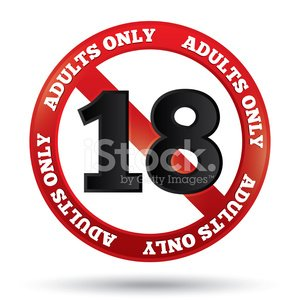Adults only content sign. Vector age limit icon Clipart.