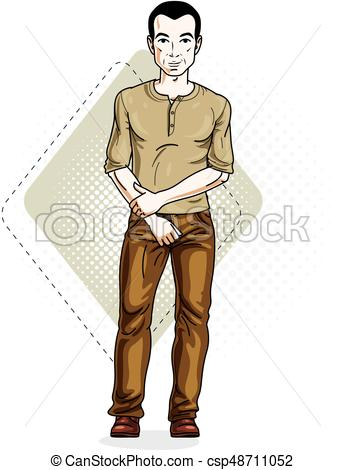Happy brunet young adult man standing. Vector character wearing casual  clothes like jeans and T.
