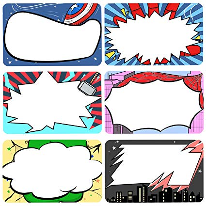 Superhero Name Tags Stickers Kids and Adult Handwriteable.